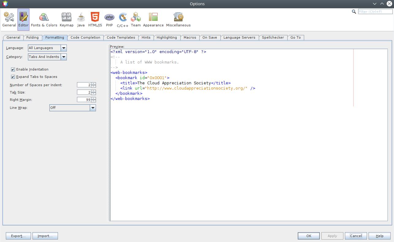 NetBeans formatting options